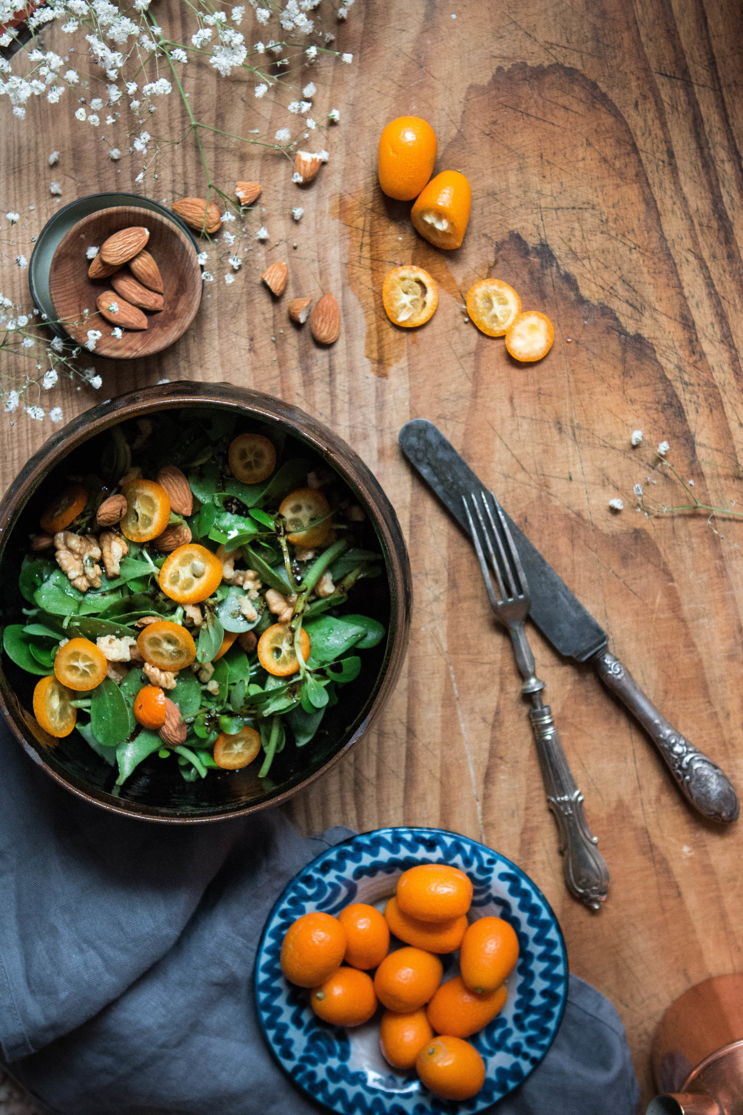 Kumkuat ve semizotu salatası