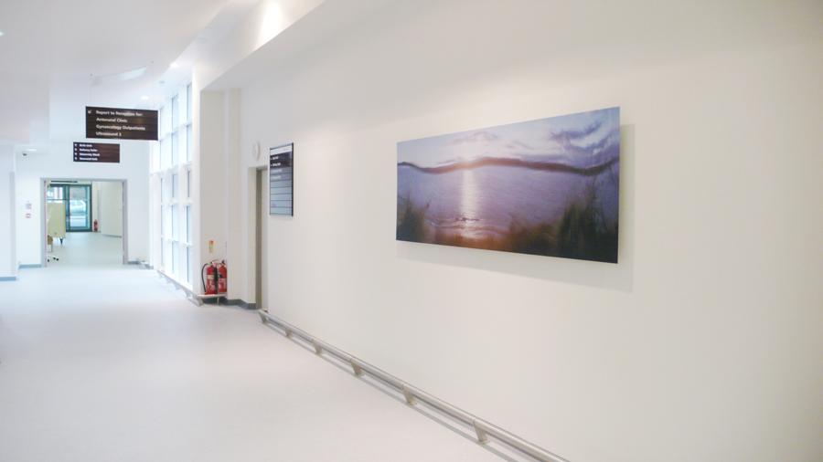 Severn Shore, 2010, Photograph, 230 cm x 80 cm. Installed in Gloucester Hospital New Women's Centre