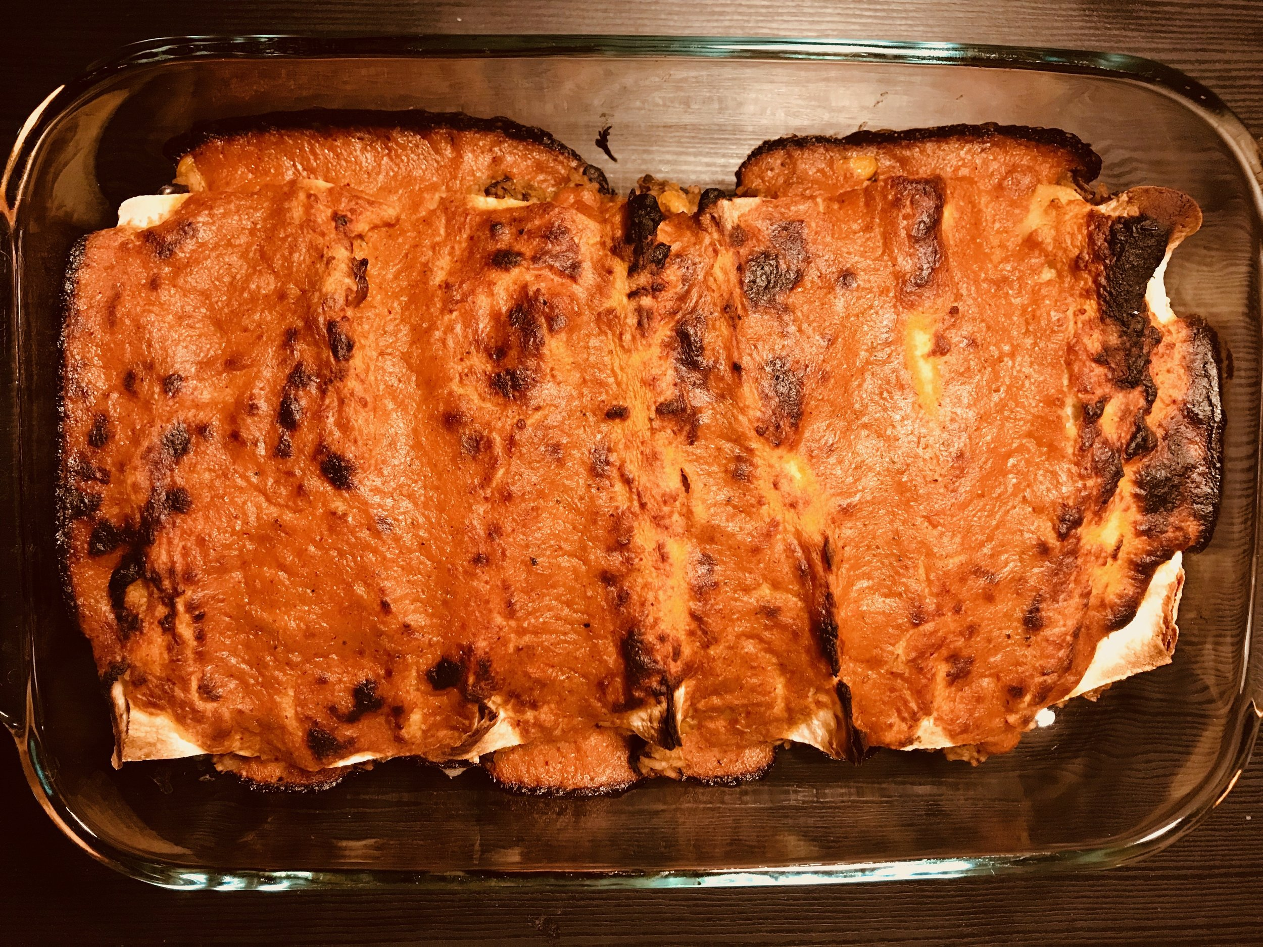 vegan enchiladas - w/ roasted red pepper and tomato sauce