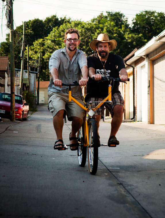 Bicyle artist Yawd Sylvester (right) and friend