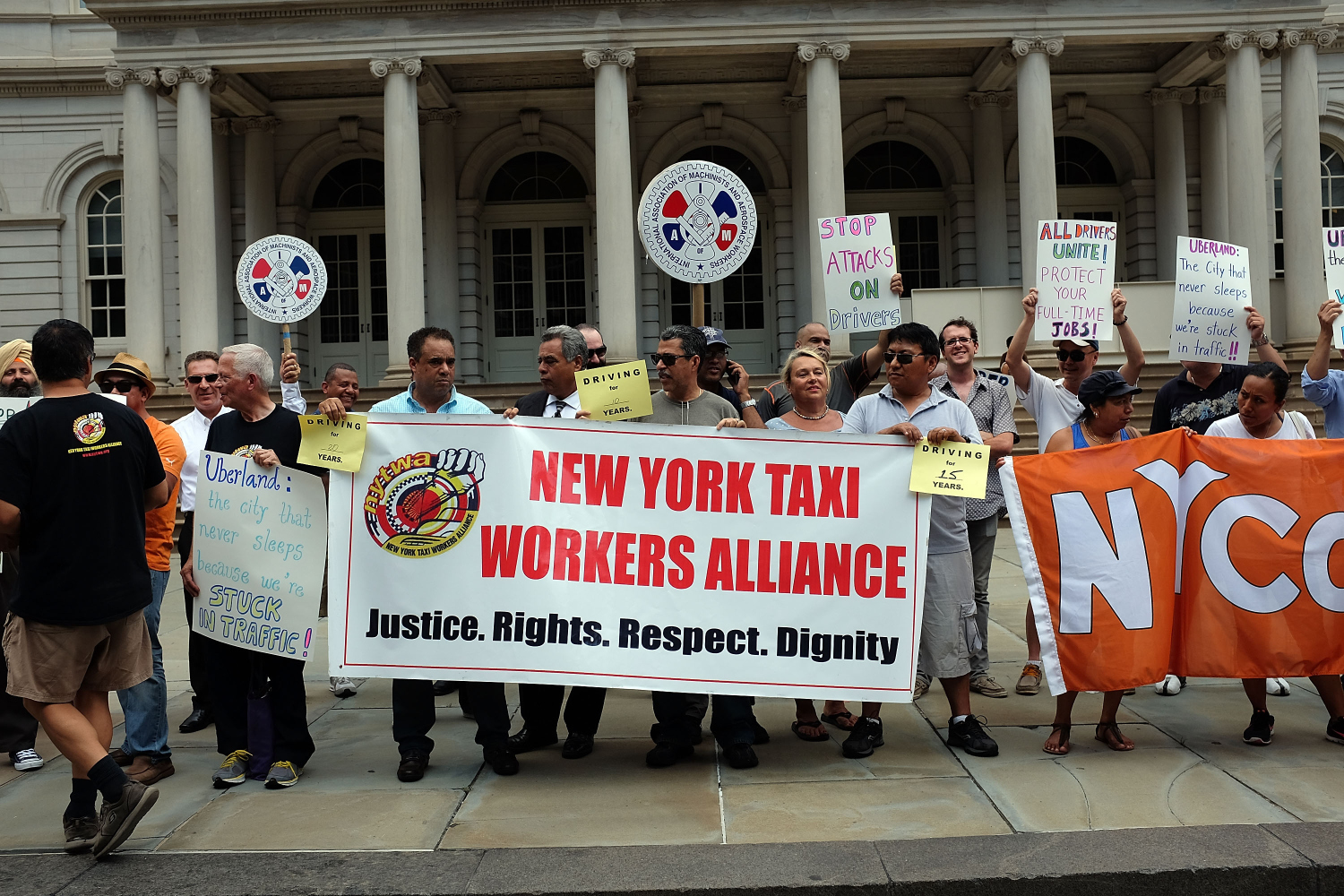 A City Hall rally to support a limit to the number of Uber drivers on the streets of New York City, on July 20, 2015 . (Photo by Spencer Platt/Getty Images)