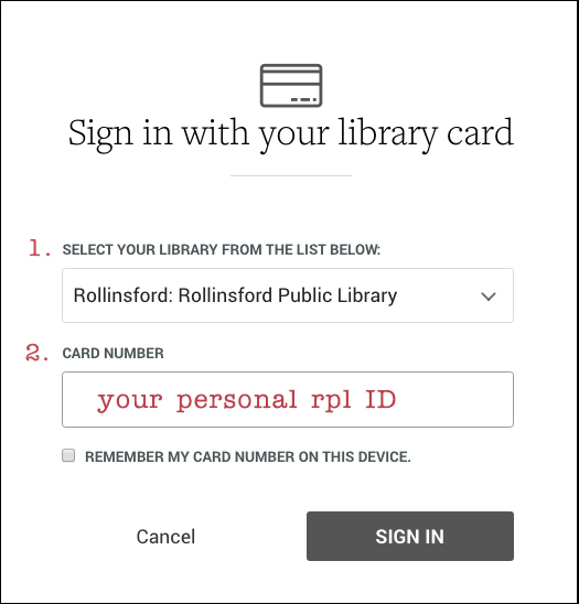 Screenshot of the OverDrive login page. Your personal RPL identification number is 4164 plus the last digits of your libray card number (after the zeros).
