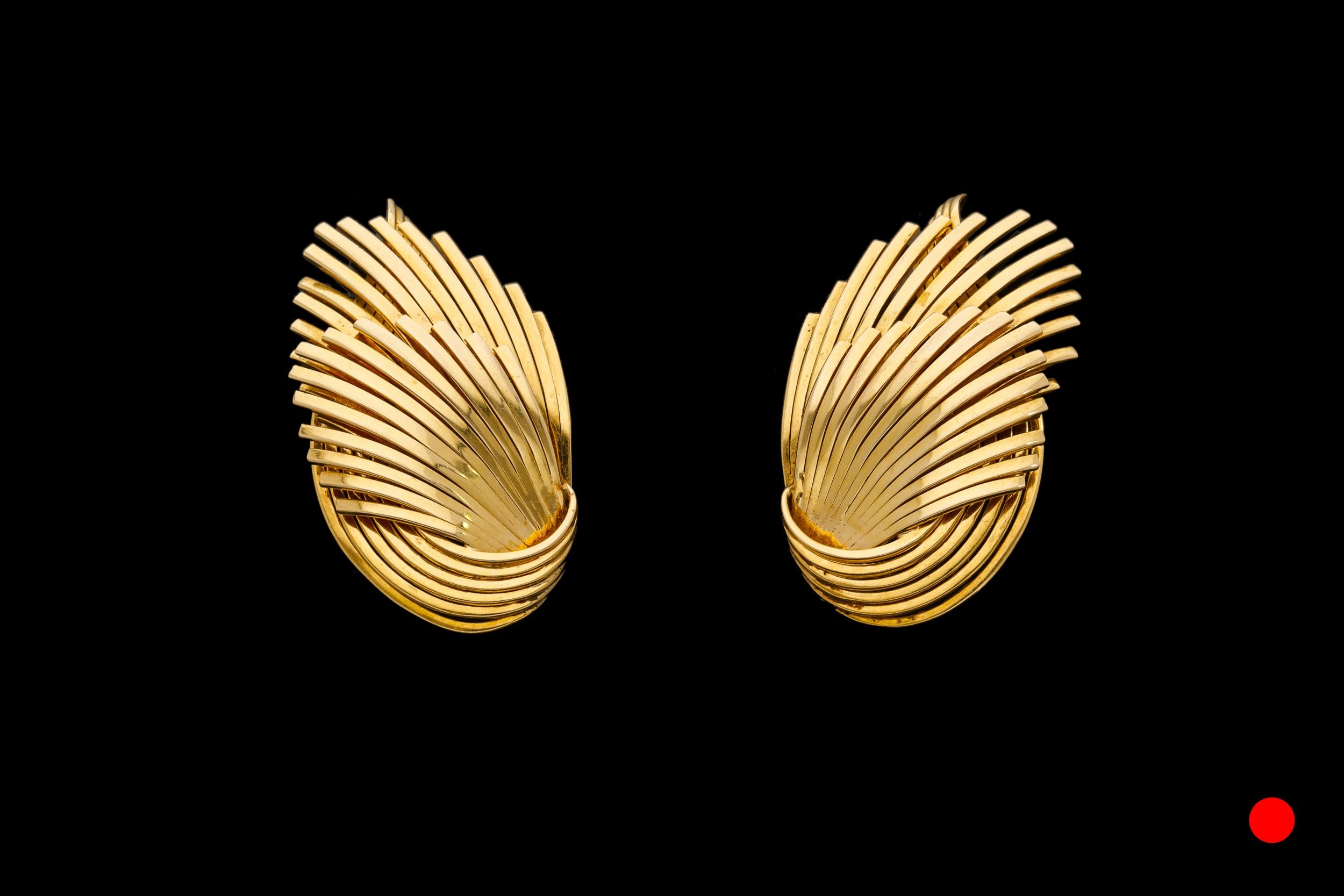 A sensational pair of 1960's 18ct yellow gold fan clip earrings | £4250
