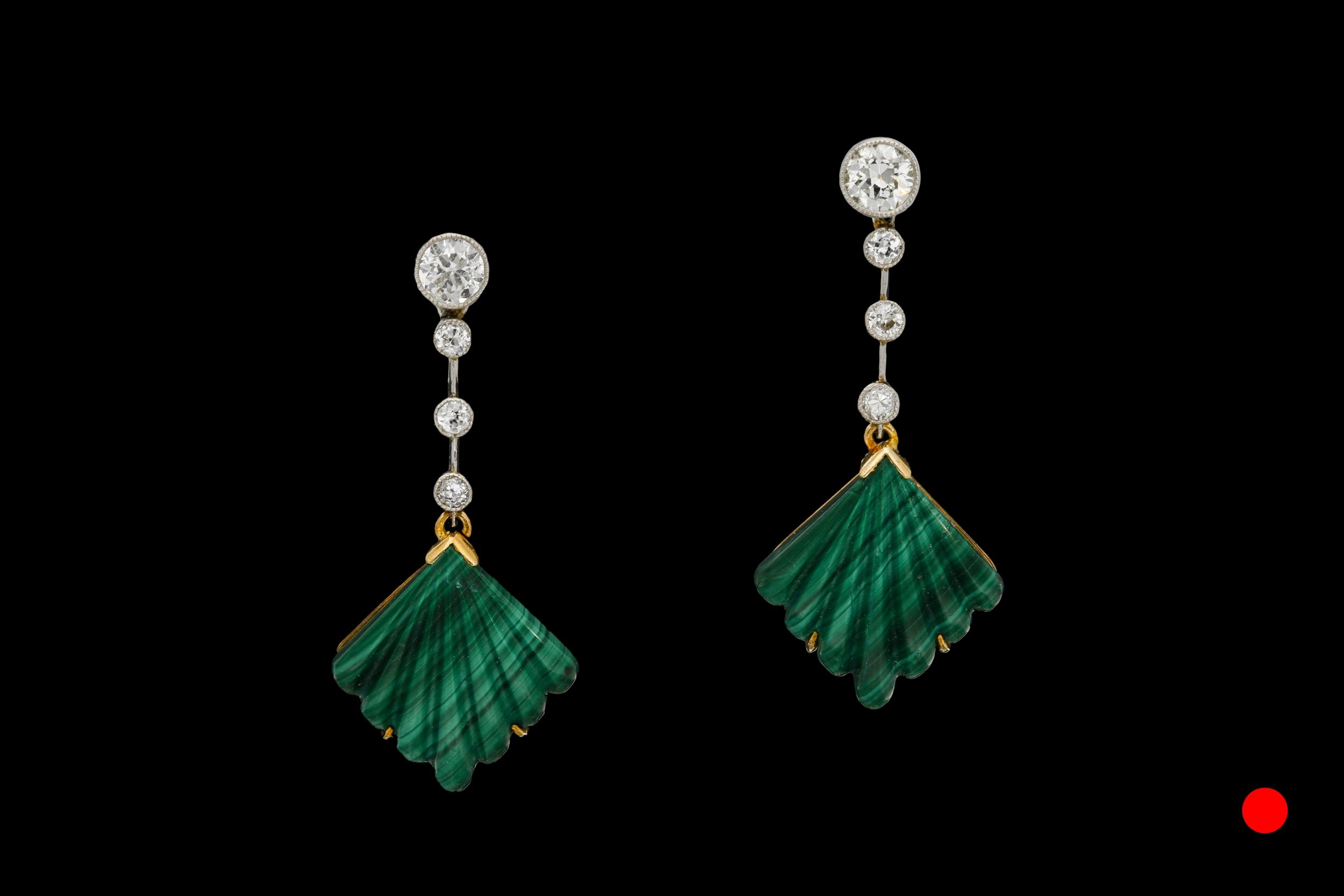 A stunning pair of Art Deco malachite and diamond drop earring set | £4200