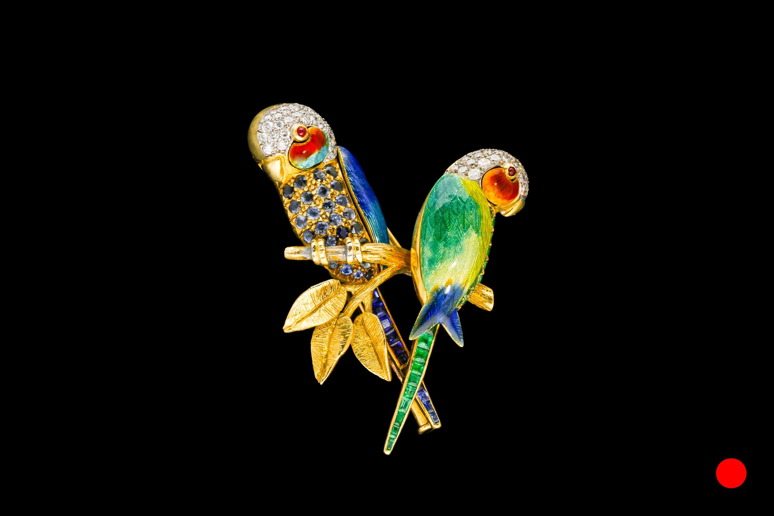 A 1950's Piere Sterlé parrots brooch | £9850