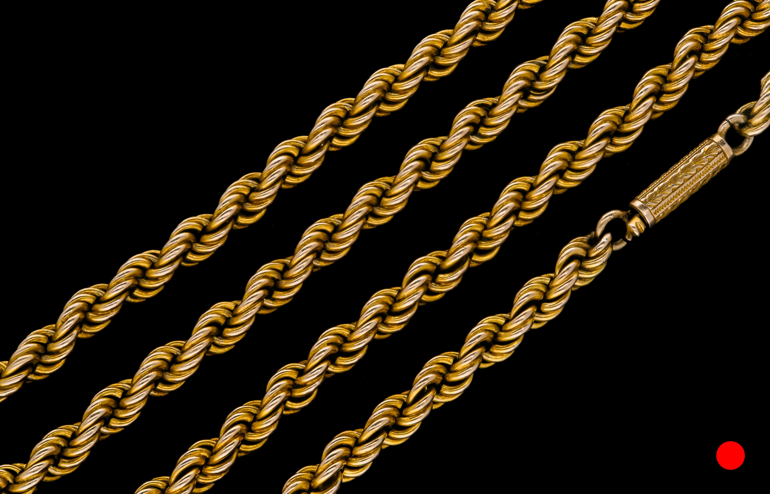 A Victorian 15ct yellow gold rope chain necklace | £2400