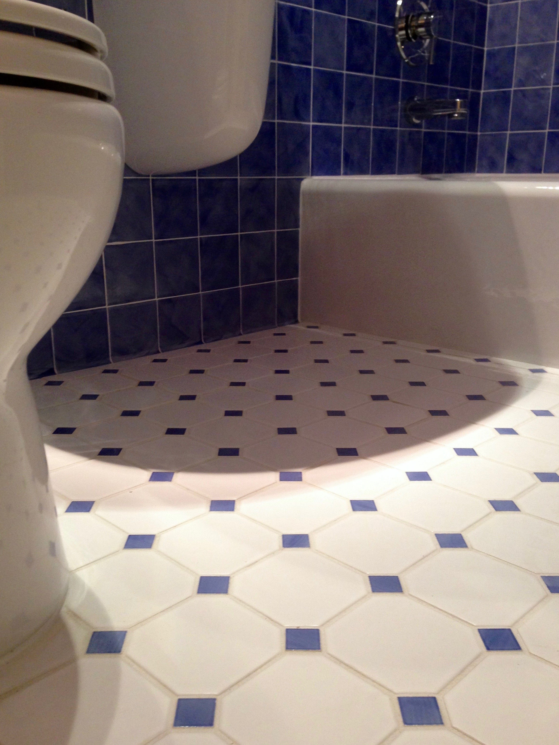 This remodeled bathroom displays beautiful blue & white tiles