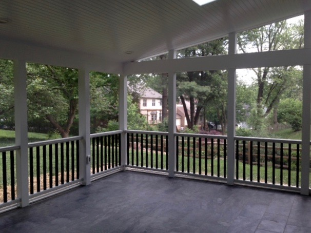 Screened-in porch addition, with beaded board ceiling