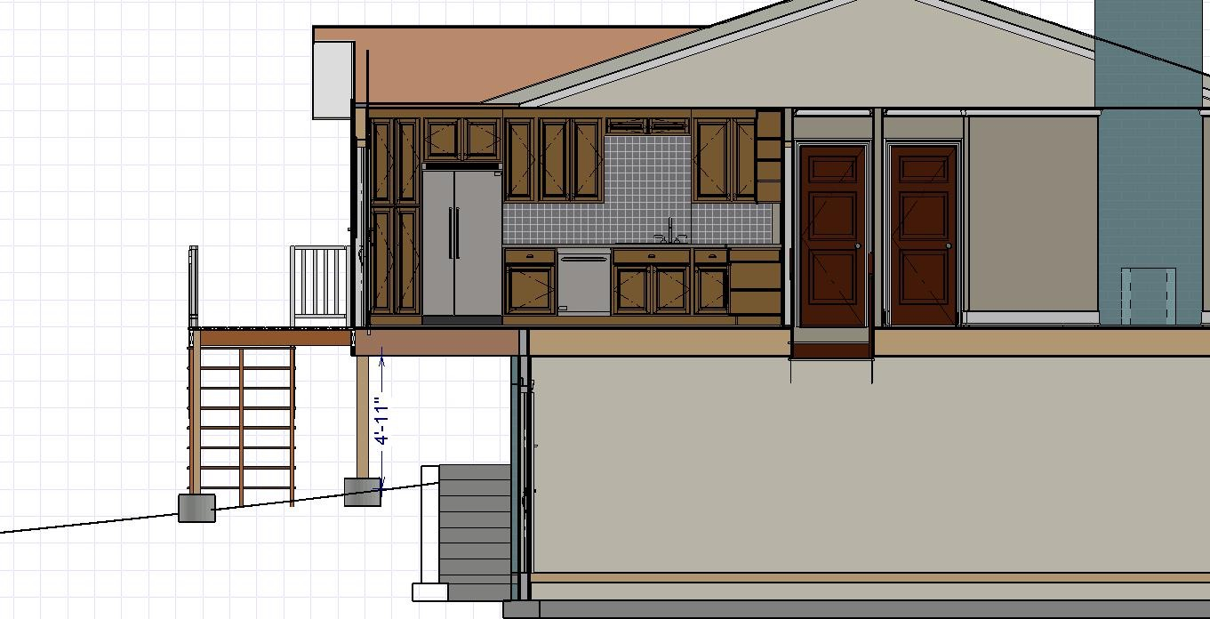 Cross-section view of kitchen addition
