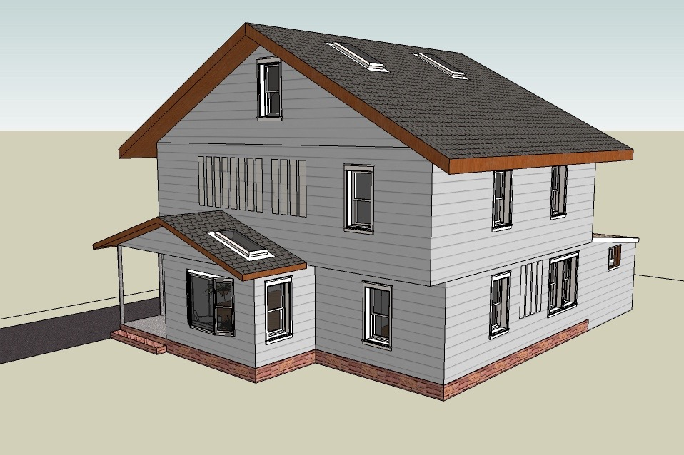 A 3D rendering of a home design