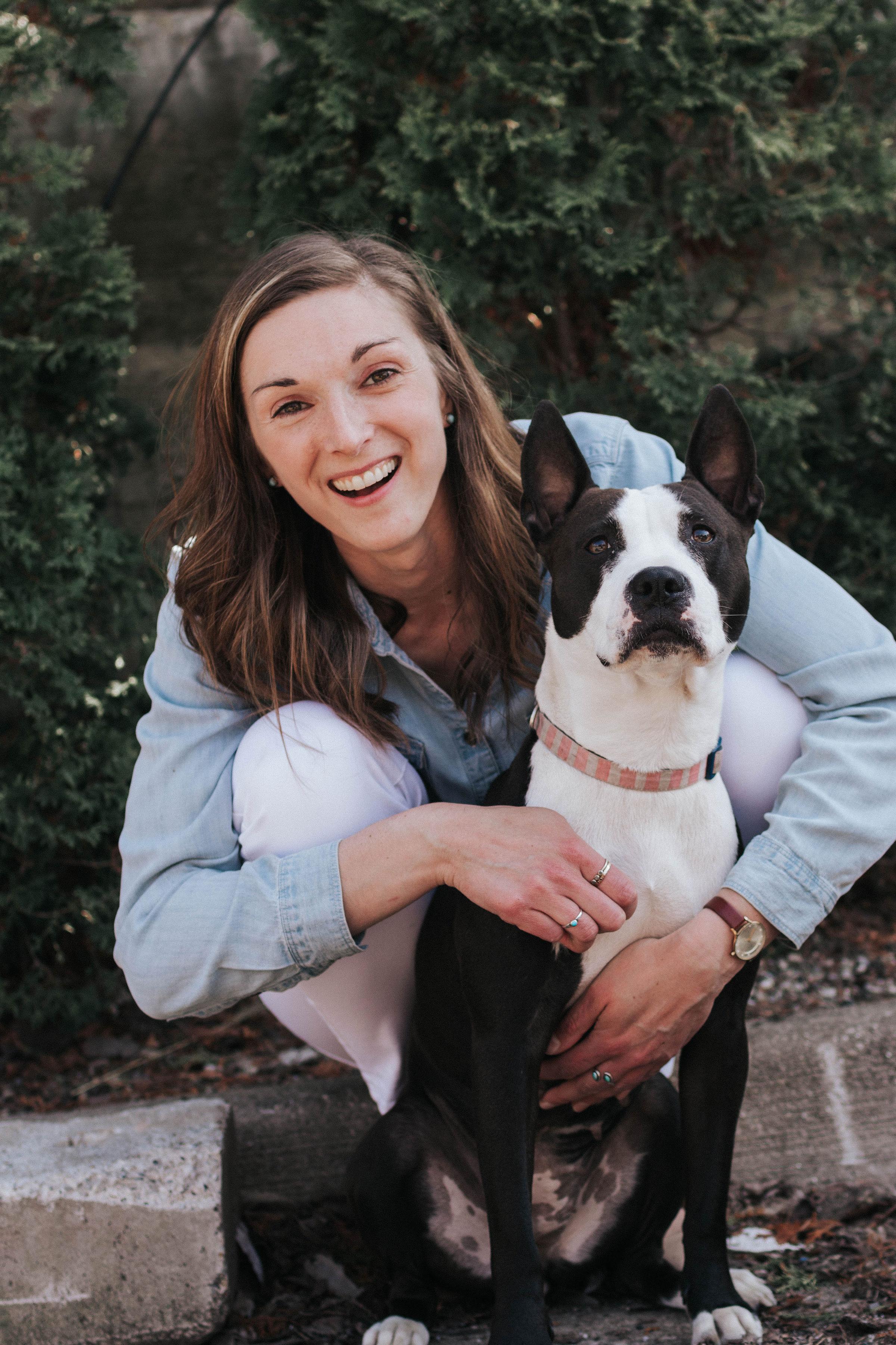 Margaret Almdale with her Boston-Bull Terrier, Gigi.