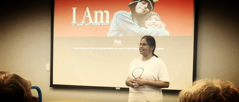 Lakshmi Girl, of  The Parent Voices , introduces  How Jack Became Black  to the crowd at Chester County Library in Exton, PA.