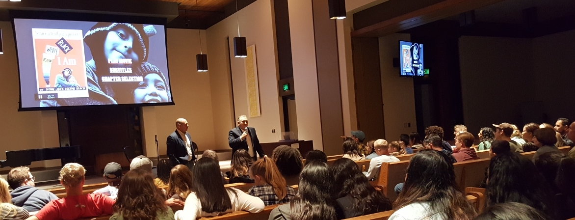 Professor Darren Guerra and Filmmaker Eli Steele during the Q&A before a packed crowd at  Biola University .