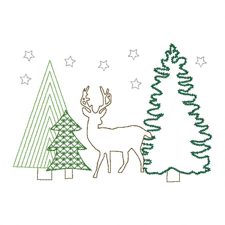 Deer and Trees