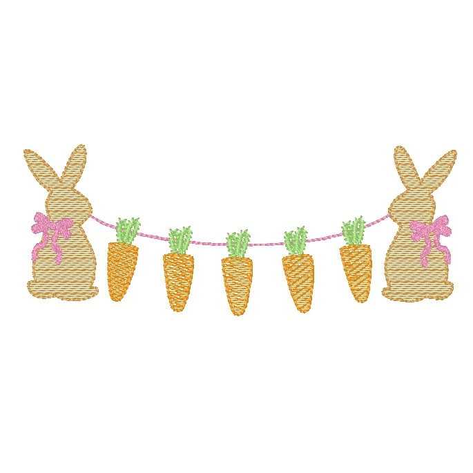 Bunnies holding carrots (bow)
