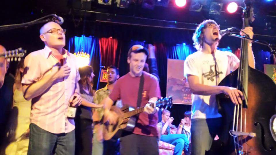 My student, Nick, on stage with Brothers Comatose, in SF!