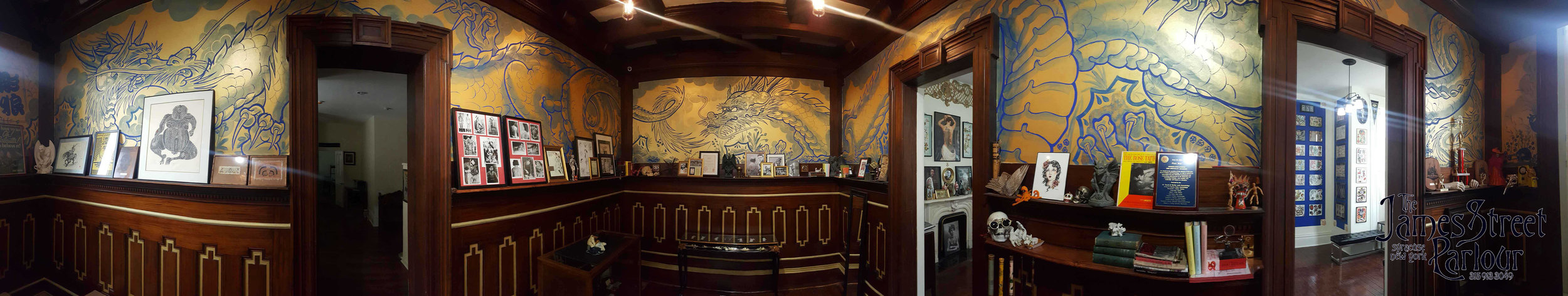 The mahogany paneling and ceiling were installed in 1907 by Thomas Ryan in what was the dinning room it now becomes The Dragon Room.