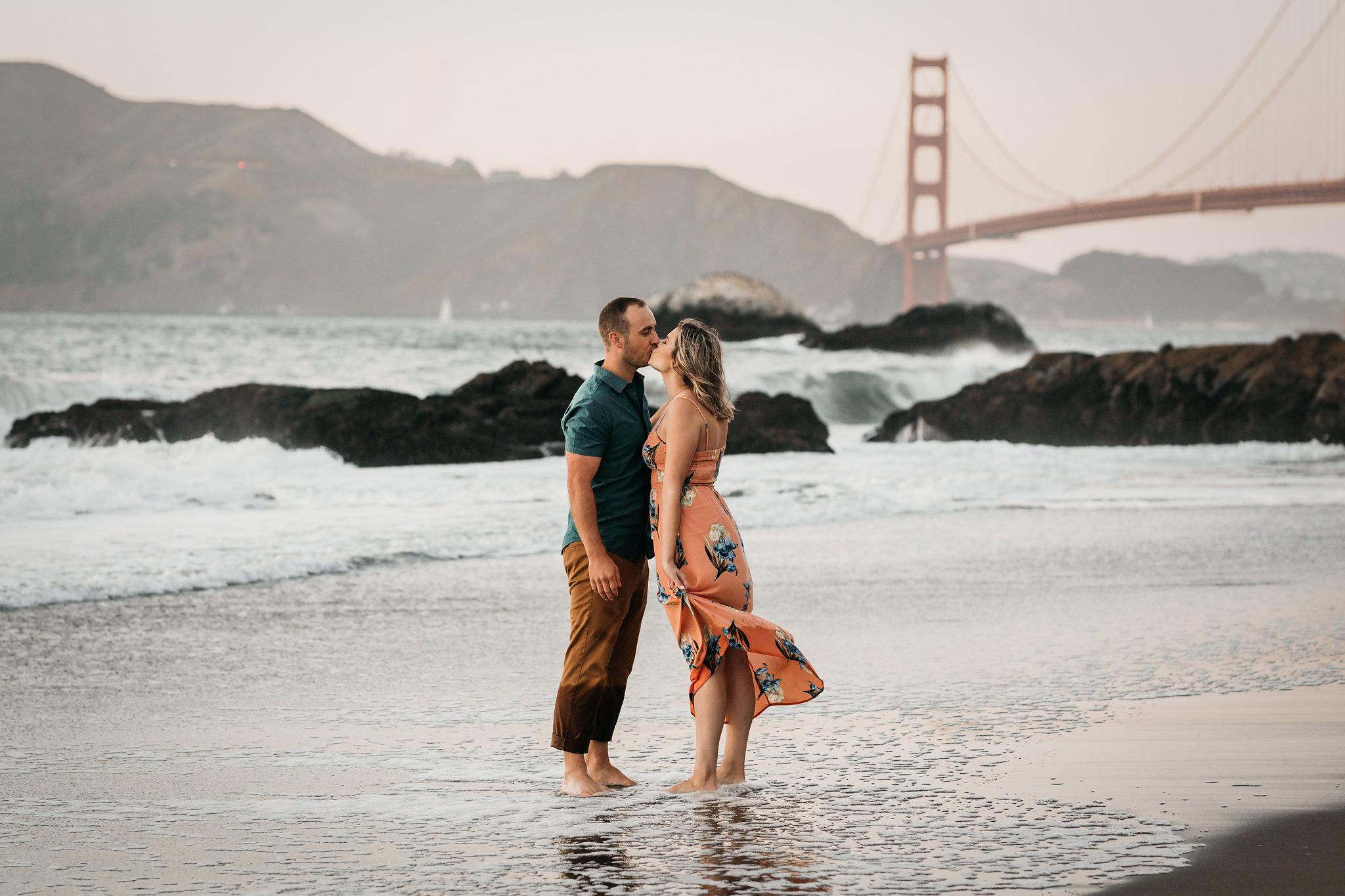 Baker Beach Engagement Shoot Golden Gate Bridge
