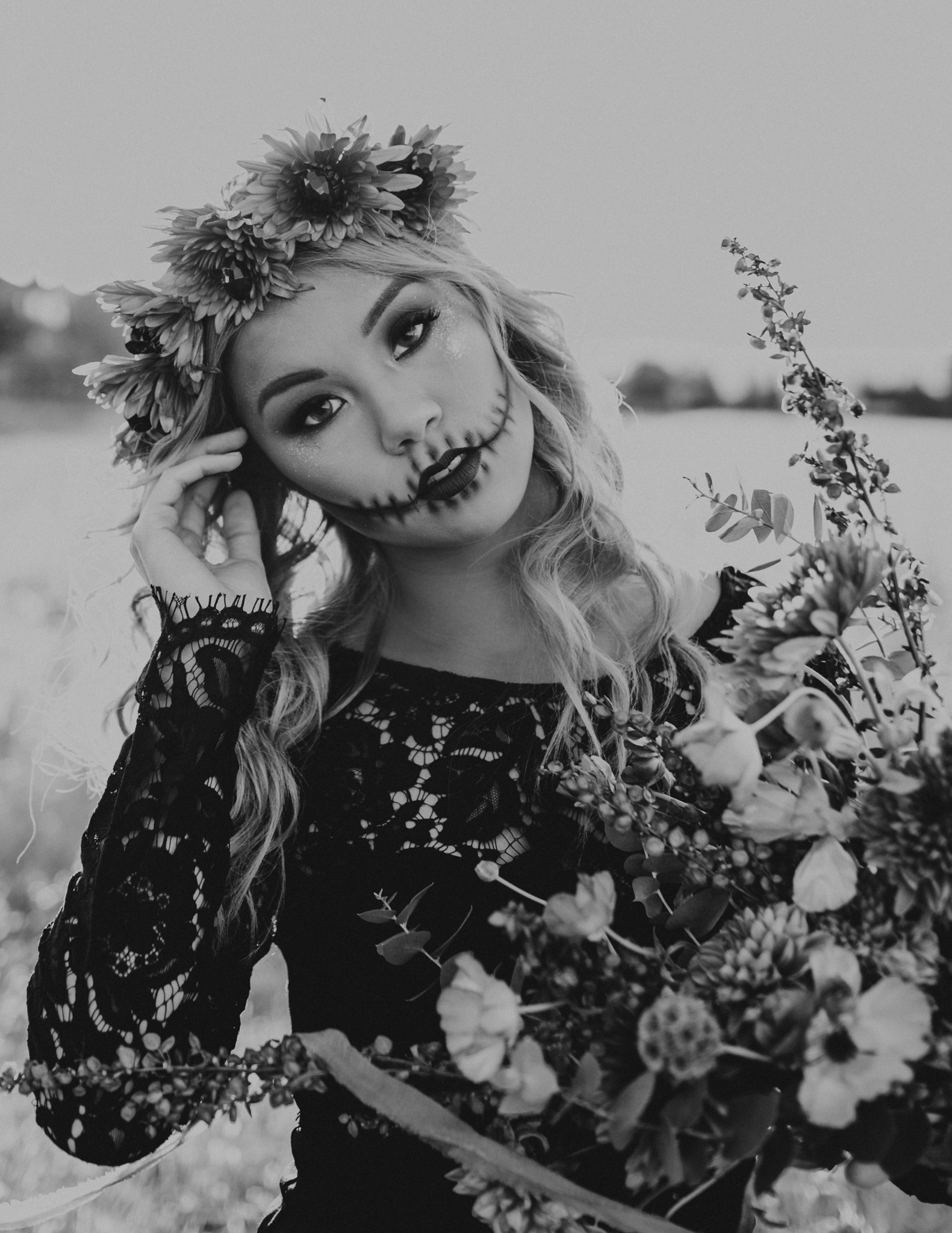 Halloween Shoot Skull Glam makeup