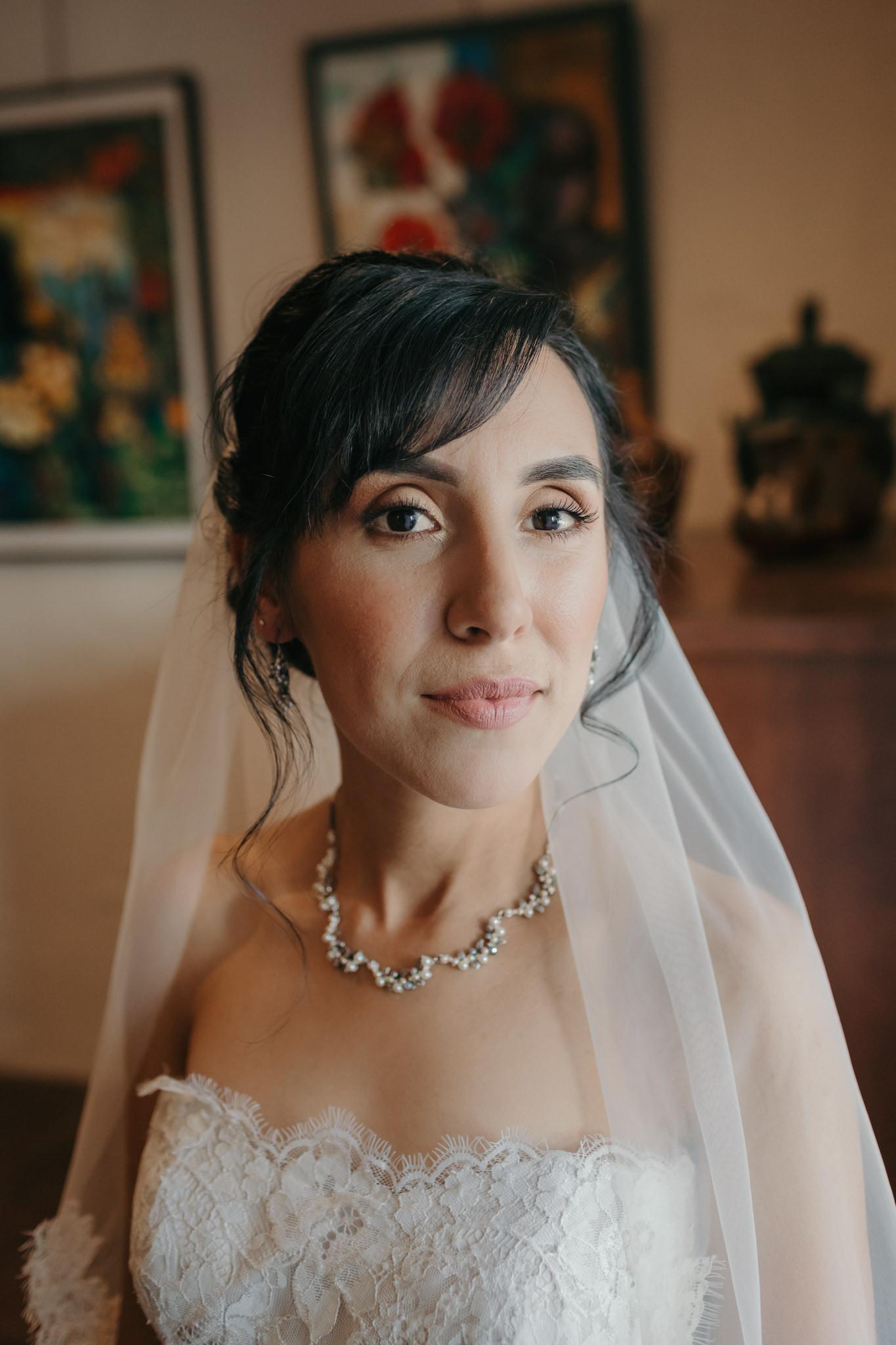 Bridal Portrait in Art gallery