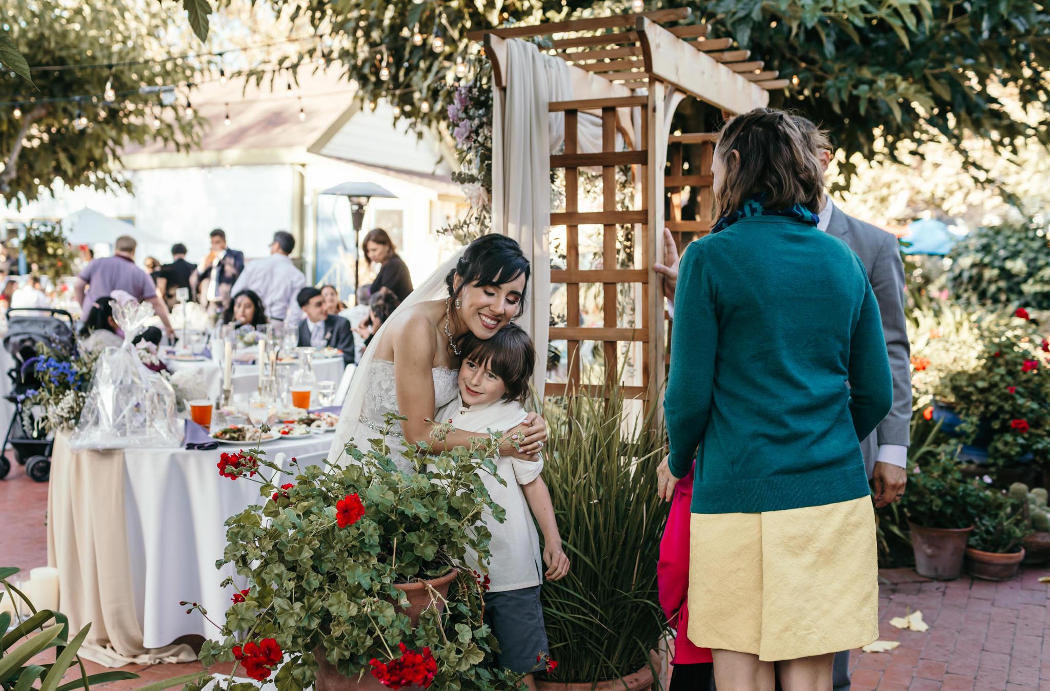 Jardines Outdoor Garden Wedding Reception Bride Hugging