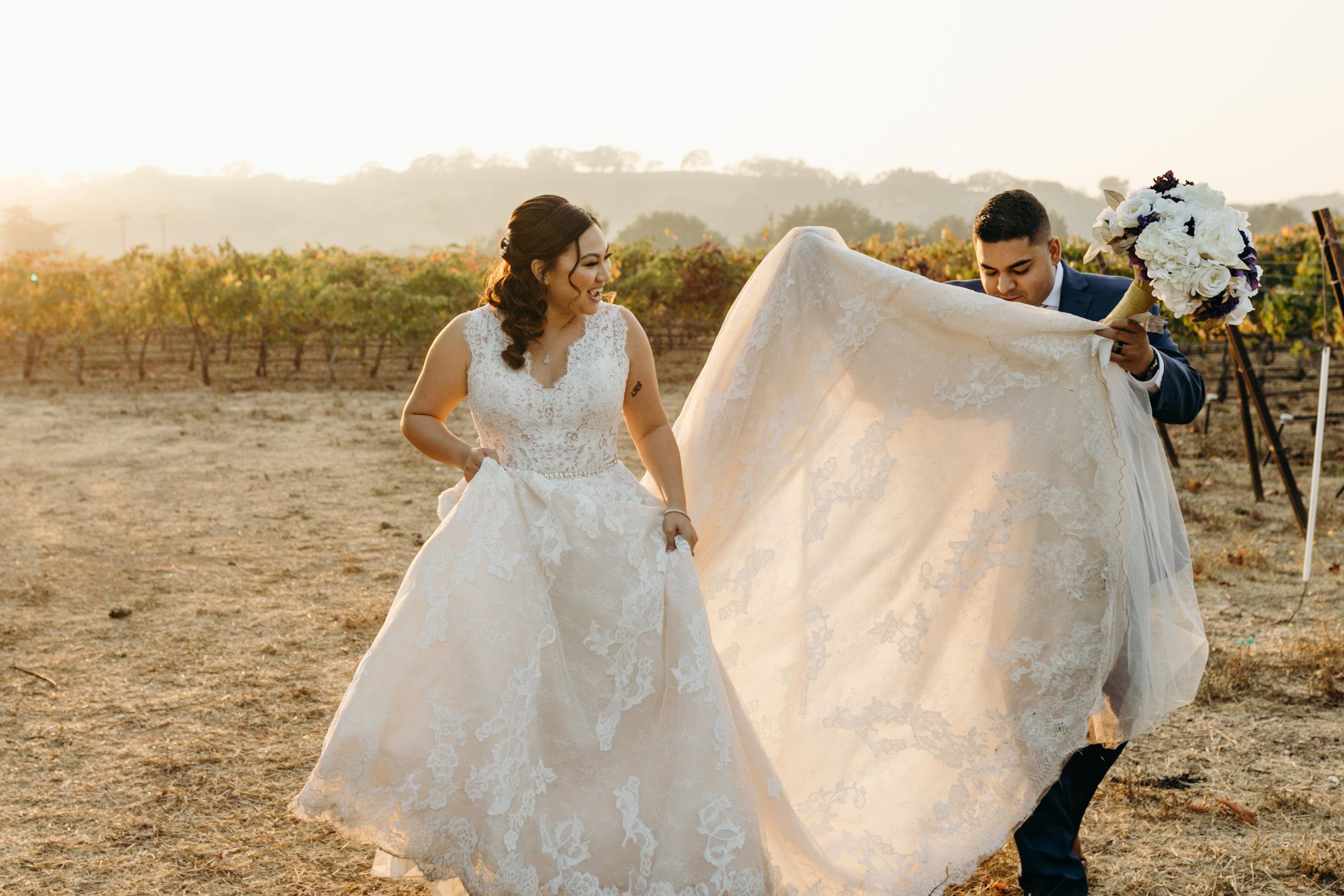 Bride and Groom Palm Event Center Dress