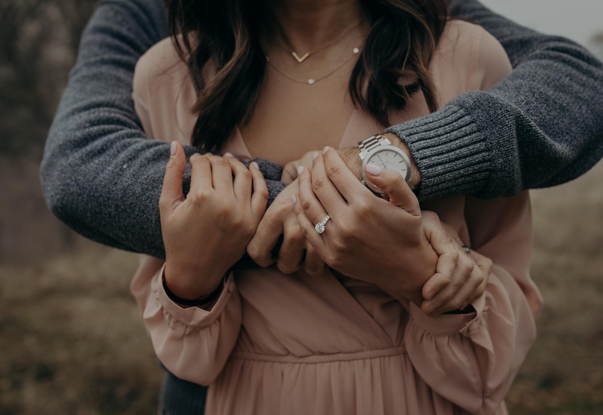 Walnut Creek Engagement Session Couple ring shot