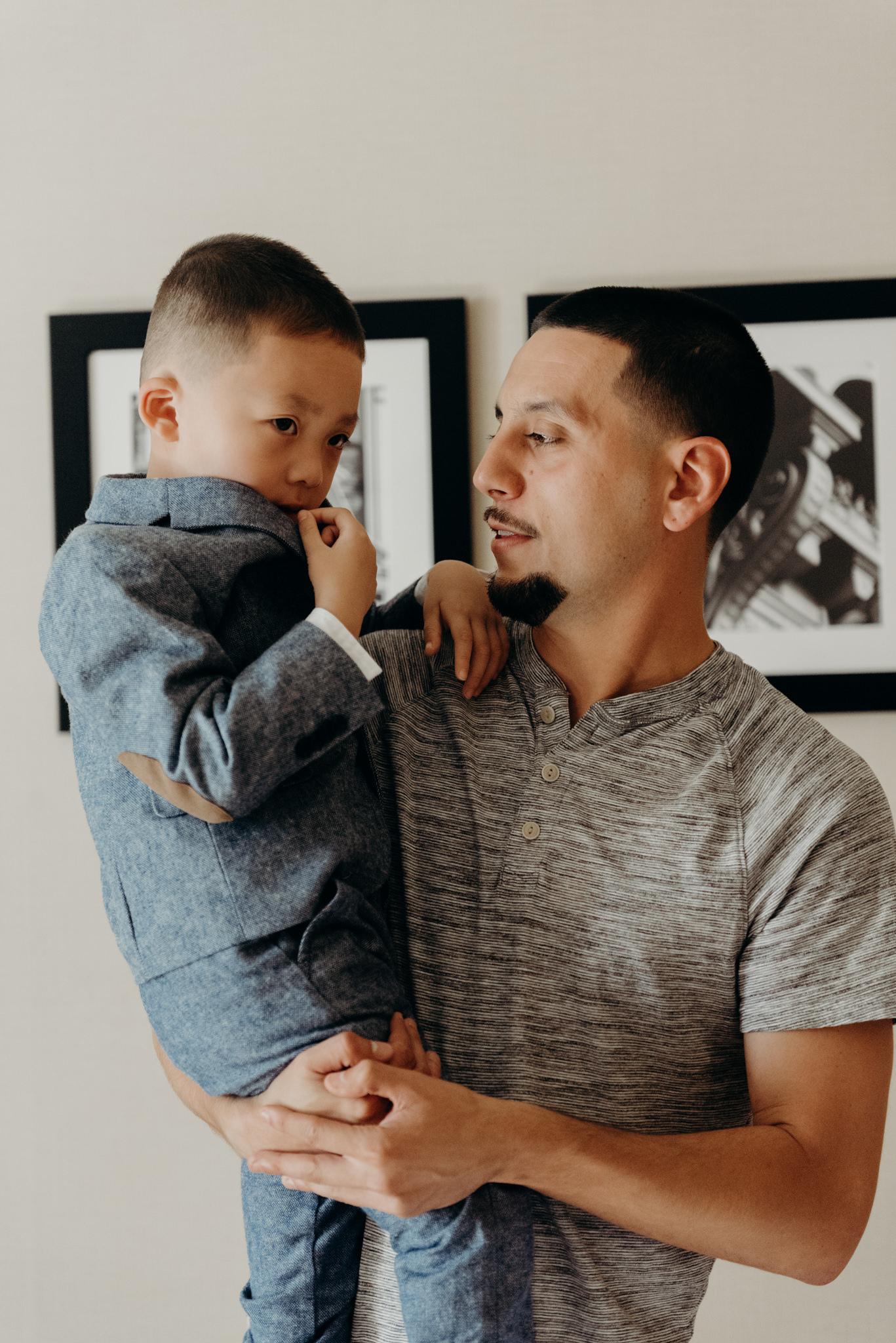 Groom with son wedding day