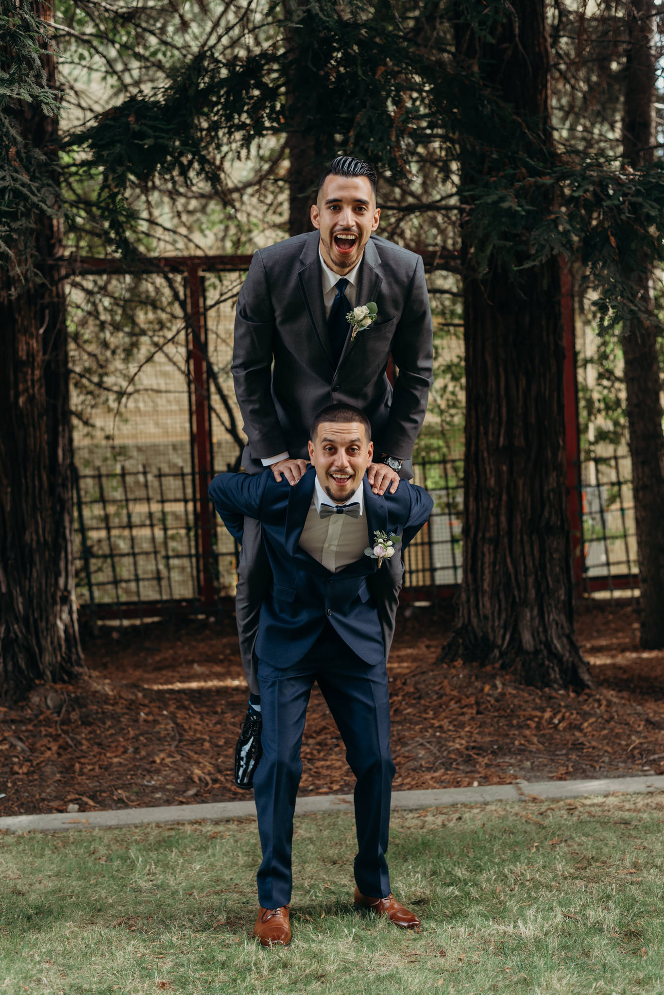 groomsmen messing around
