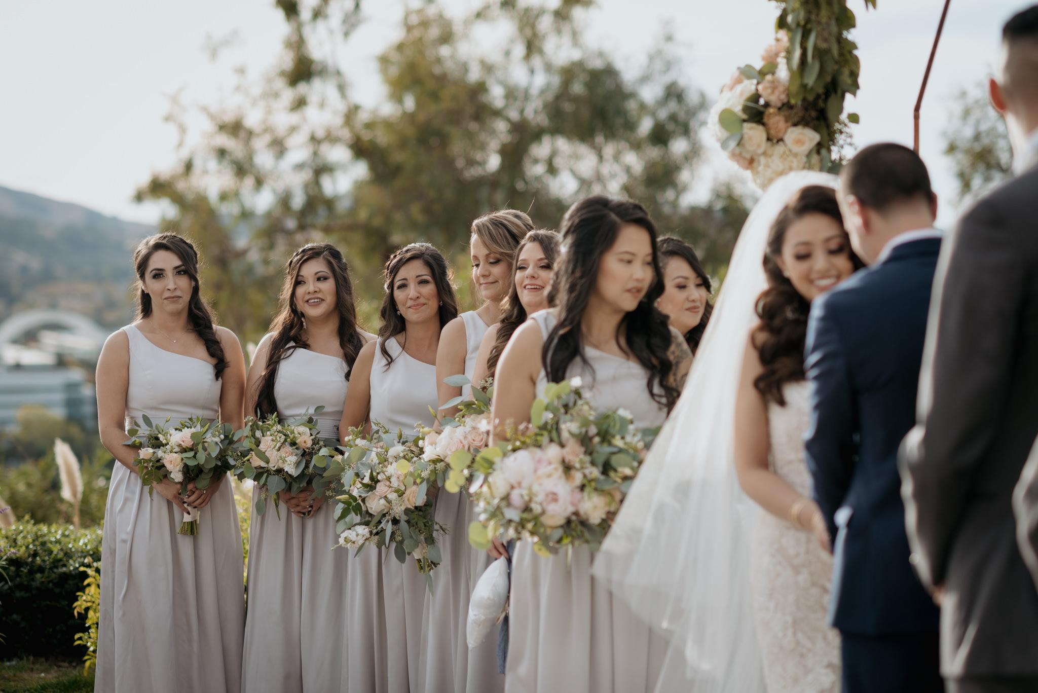bridesmaids at altar