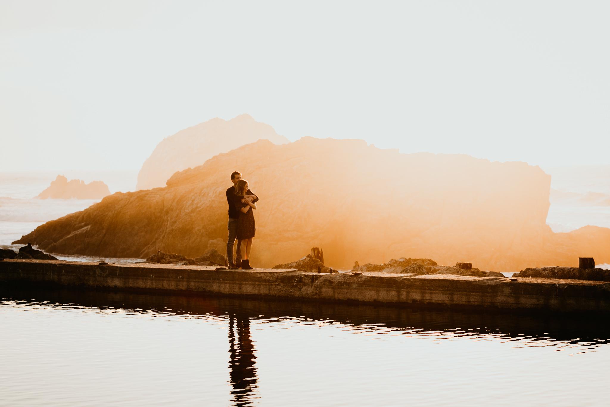 sutro baths sunset engagement photo