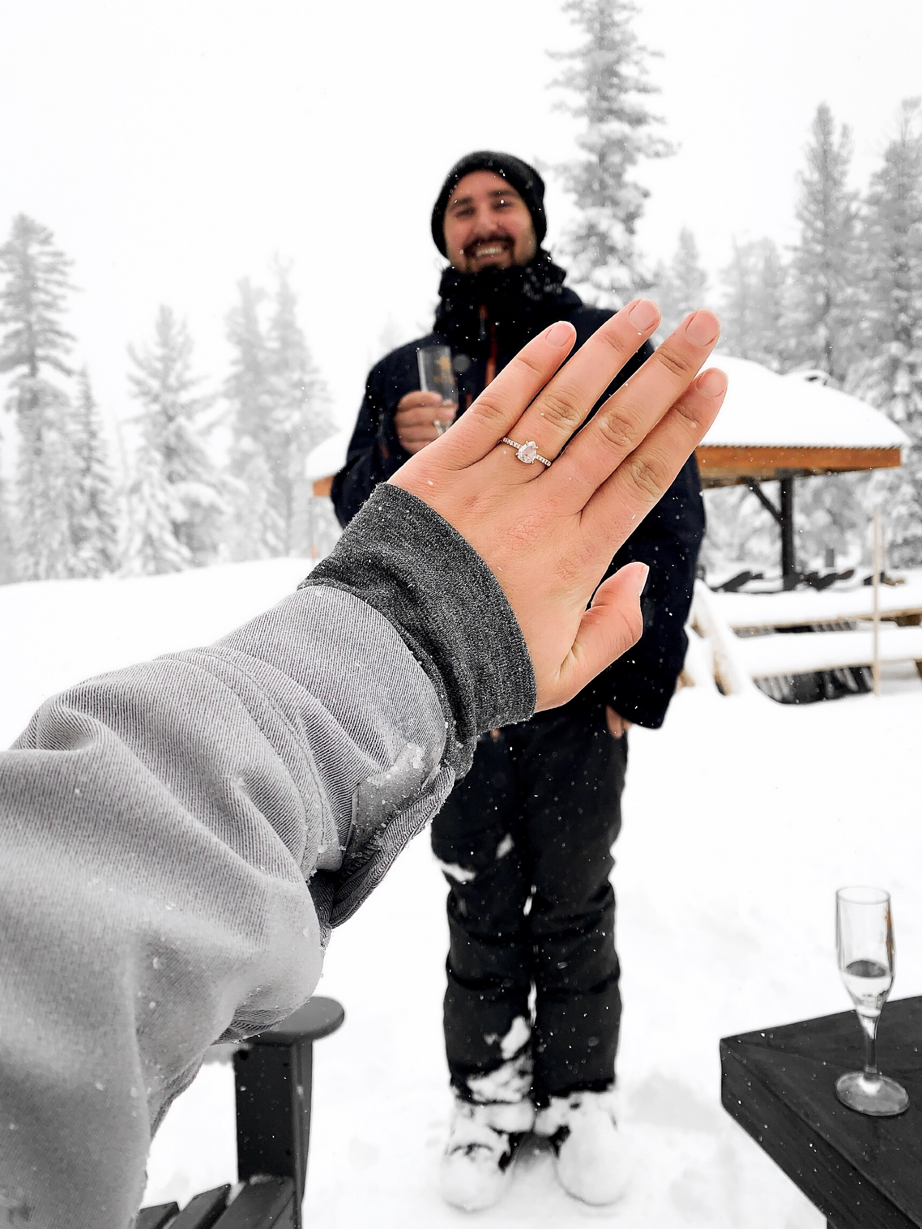 point not point engagement ring