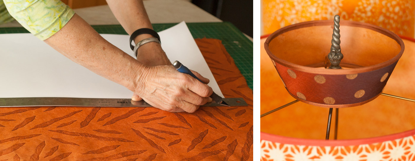 Susan Icove cuts handmade paper to create one of her signature lampshades.