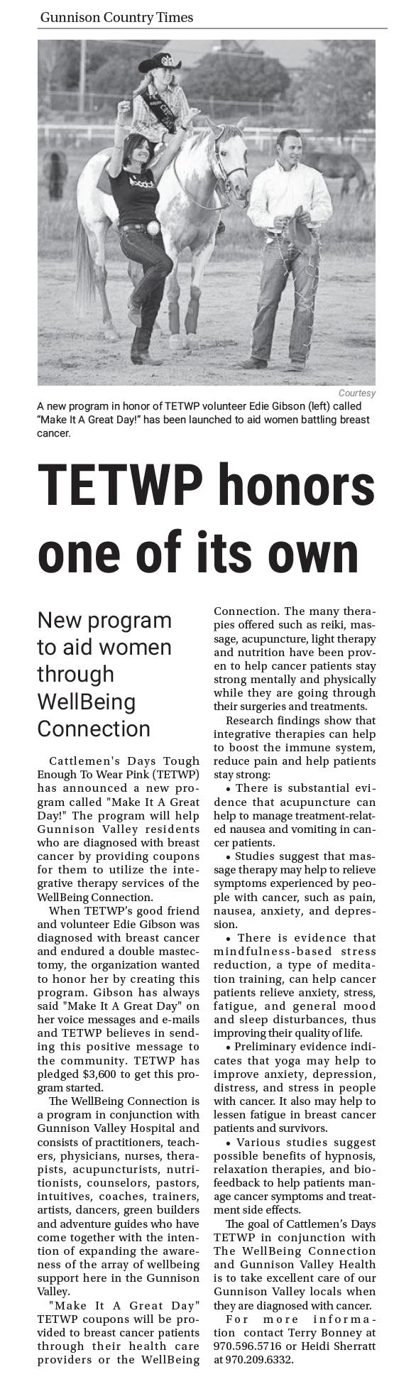 Gunnison Country Times • Thursday, December 1, 2016