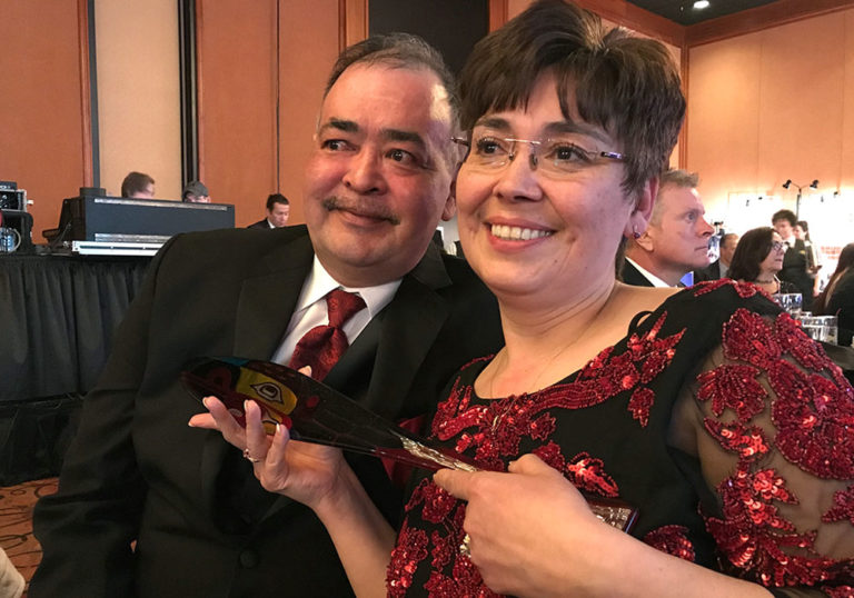 Middy and Aurora Johnson at the 2017 Healthy Alaska Natives Foundation Raven's Ball, where Aurora was honored as rural provider of the year.