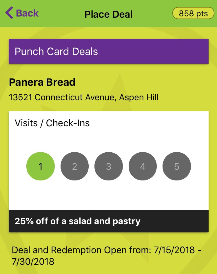 Place Tempo 5 Punch Card Deal