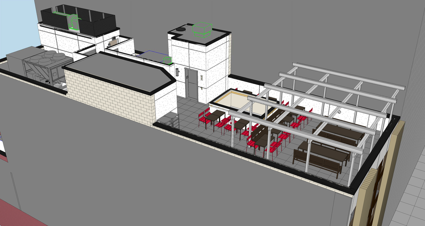 Mock-up of the rooftop seating.