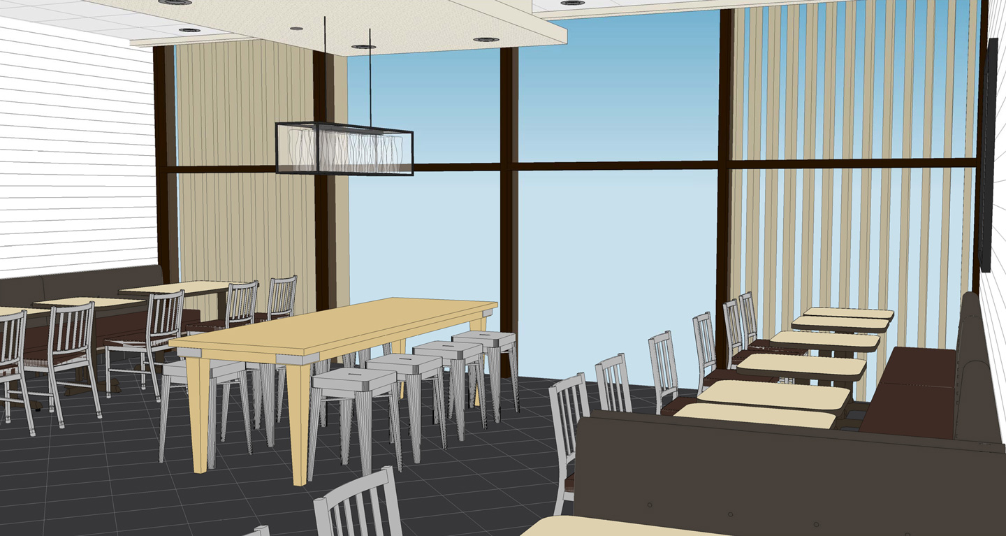 Mock-up of dining area.