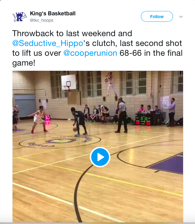 Tweet from King's Basketball |Watch video of Trouwborst's last shot  here