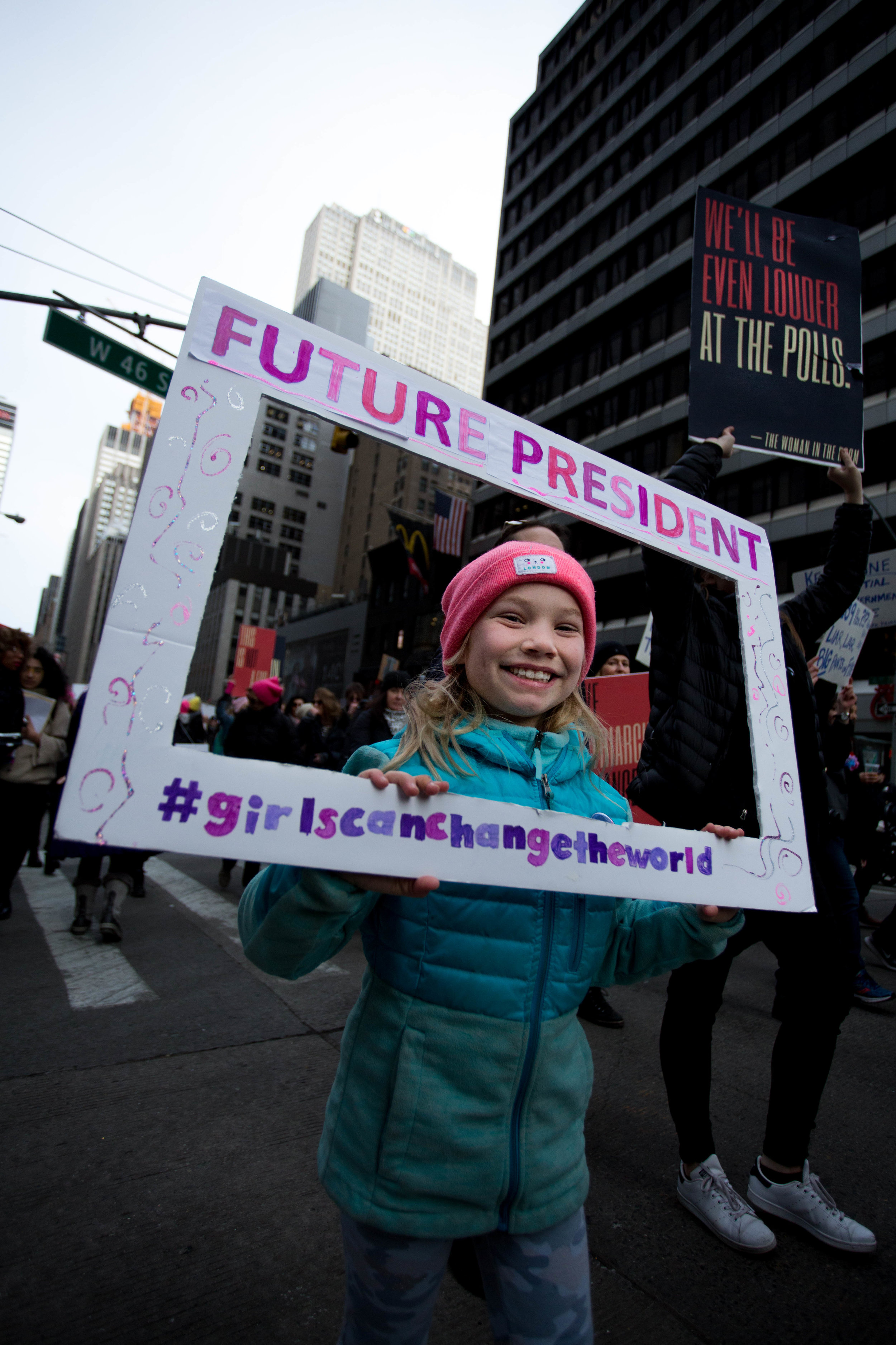 Lucy Adams, eight-year-old, participates in the Women's March
