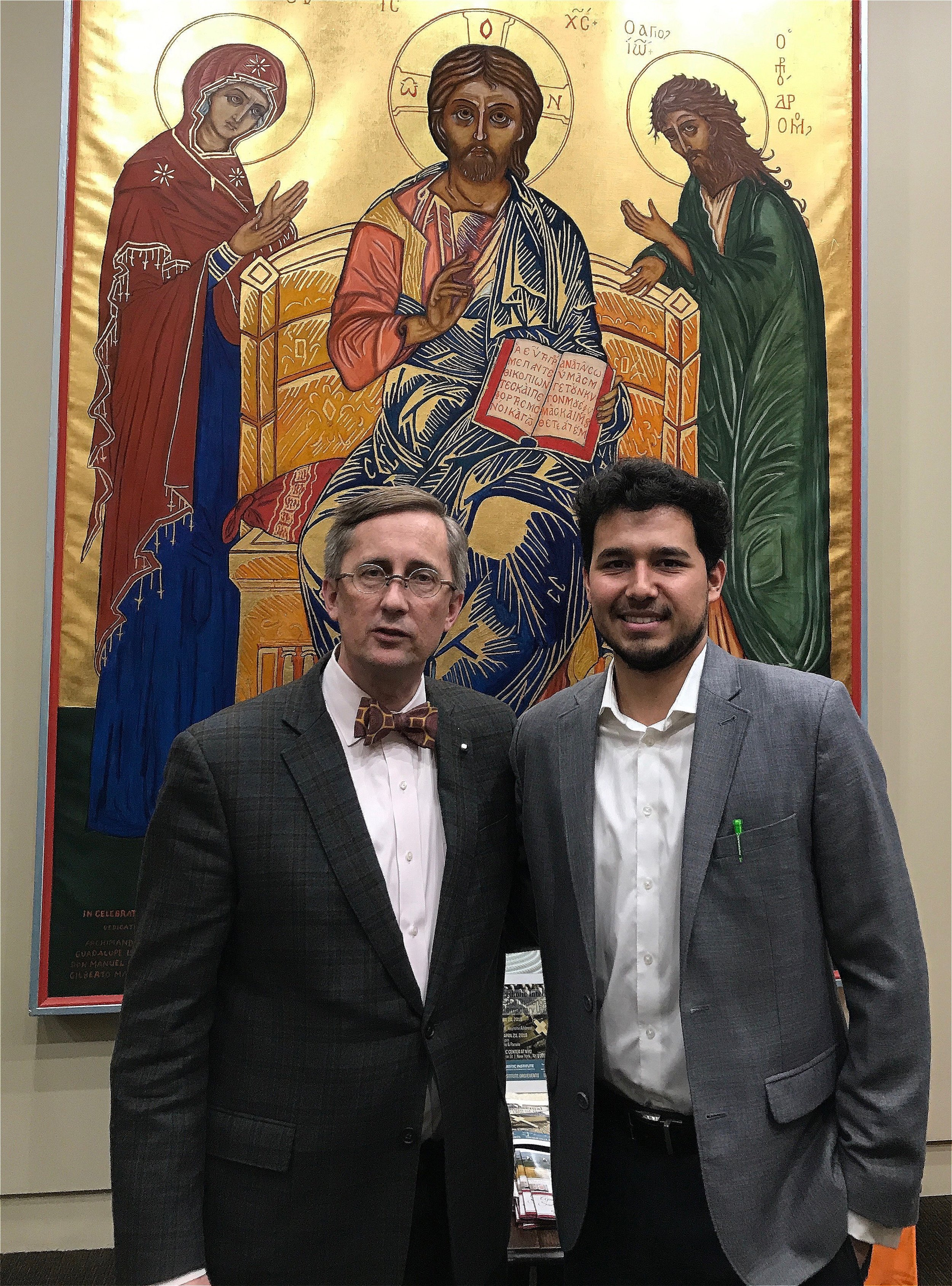 Professor Stroik (left) and King's student Andres Martinez outside of the NYU lecture hall following the presentation | Photo courtesy of Ryan McPherson