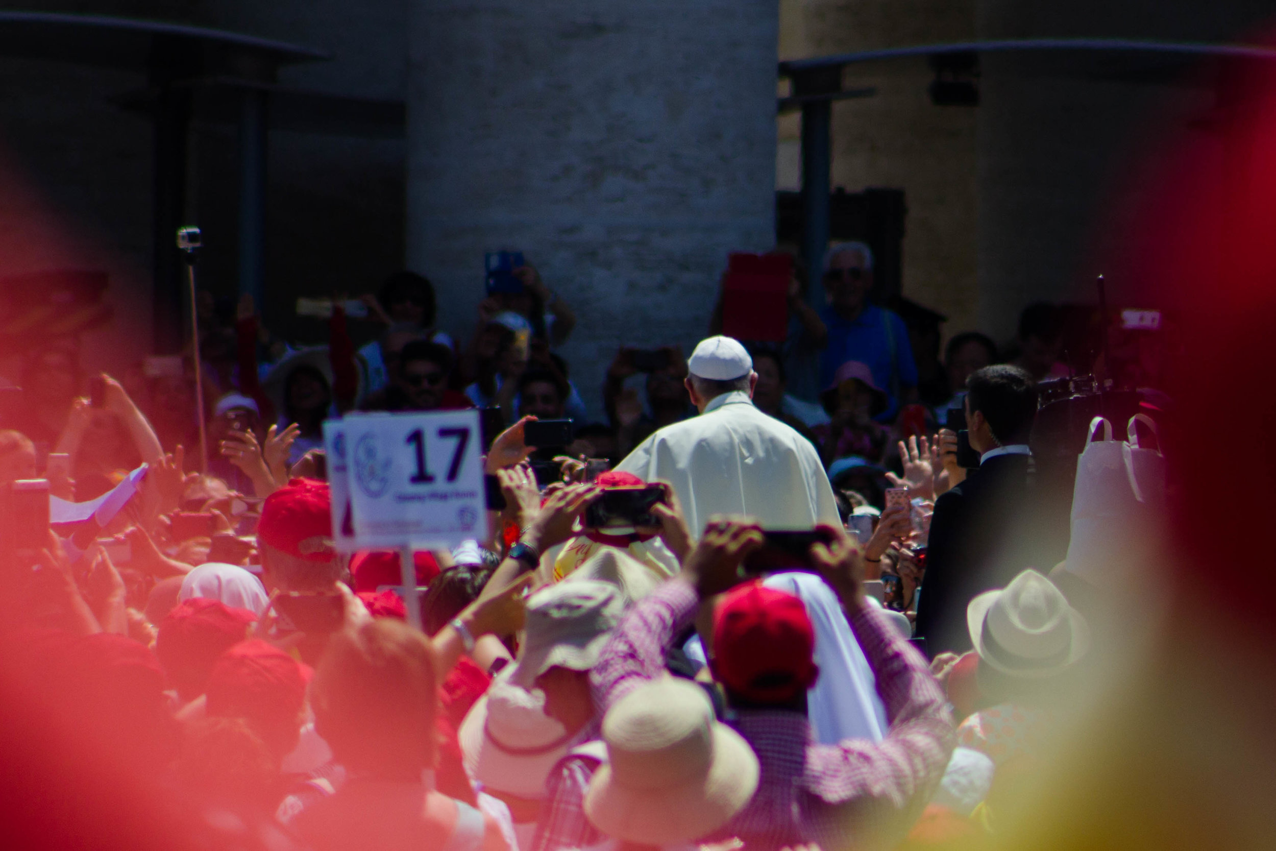 Pope Francis greets the crowd in St. Peter's Square on Pentecost Sunday | Photo by Bernadette Berdychowski