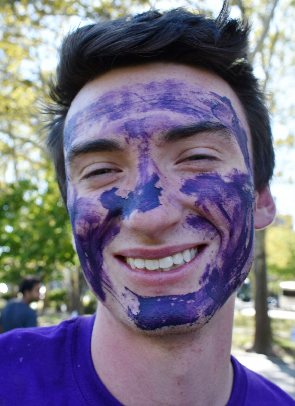 House of Reagan Chamberlain Ian Wilson gets geared up in purple to support his sister house, QE1. || Photo by Morgan Chittum