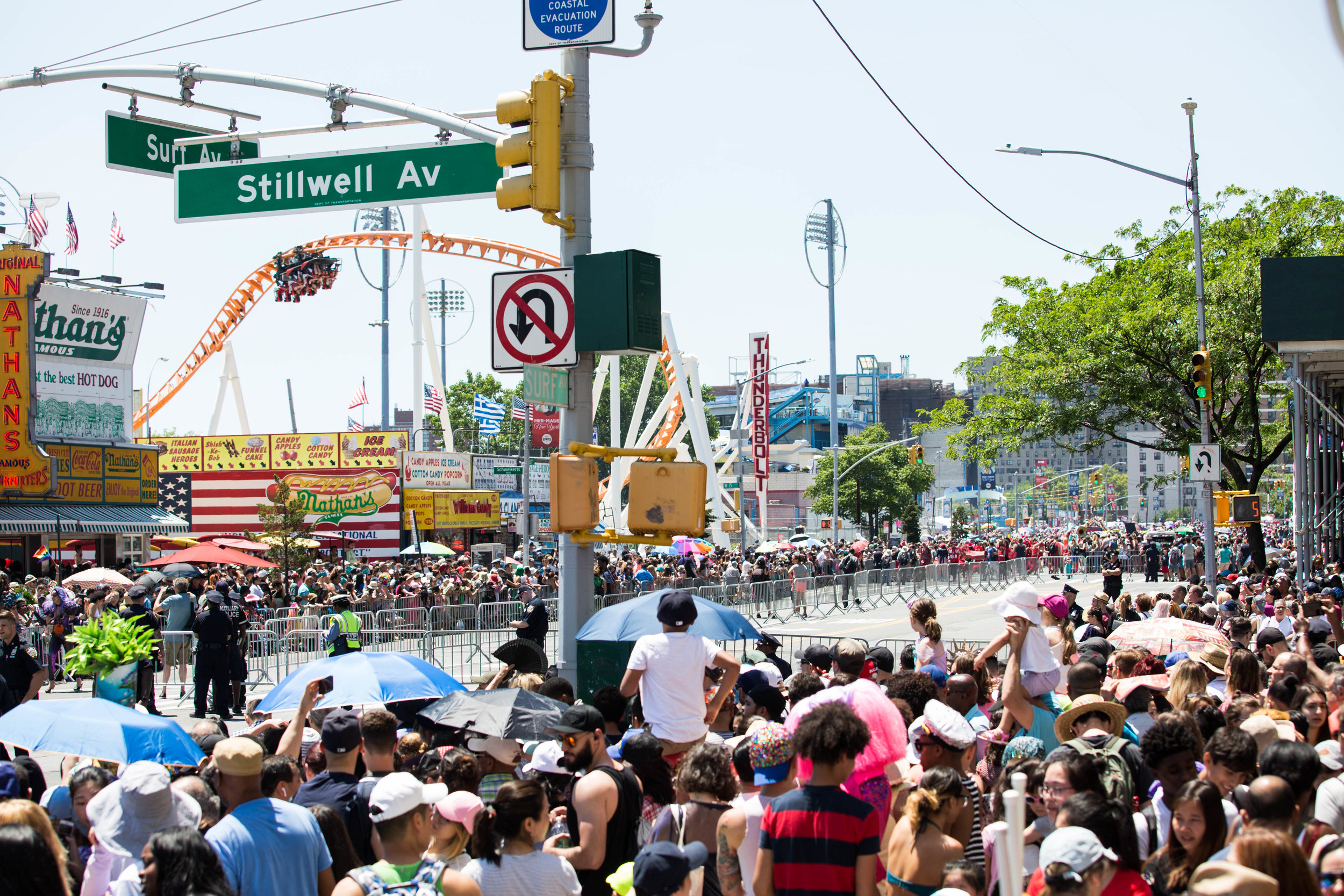 Mermaids and spectators attending Coney Island's 36th anual Mermaid Day Parade, on Saturday June 16, in New York. Photo: Wes Parnell