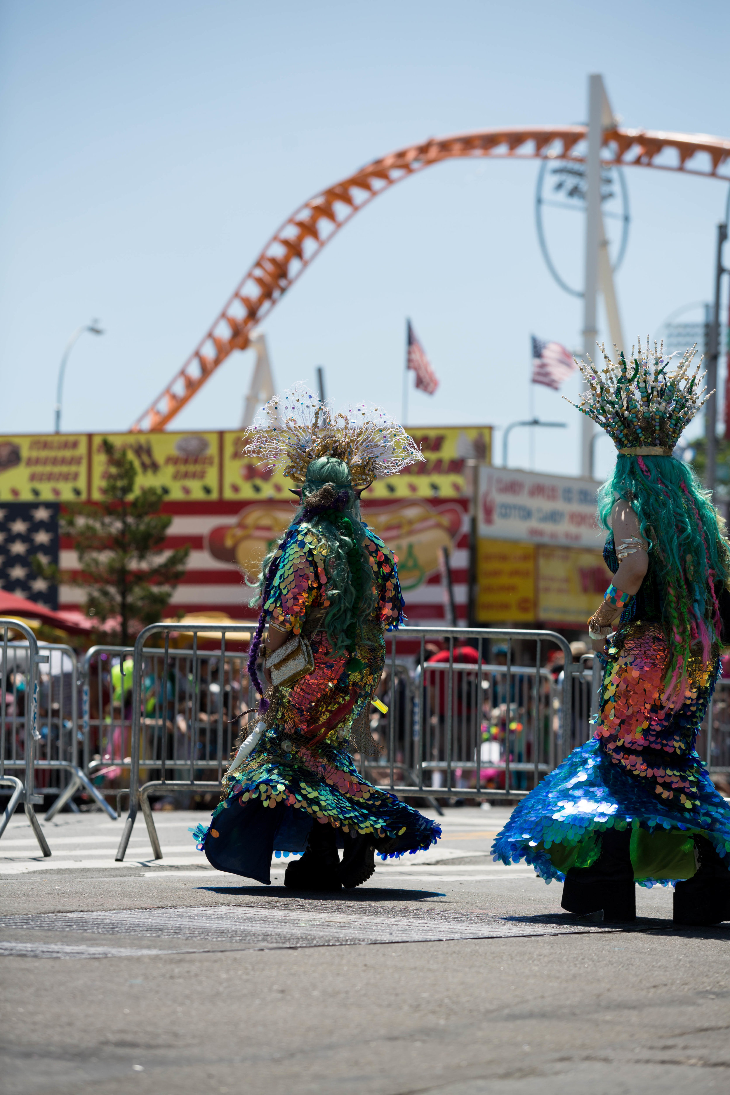 Sea creatures march down Surf Ave at Coney Island's 36th anual Mermaid Day Parade, on Saturday June 16, in New York. Photo: Wes Parnell