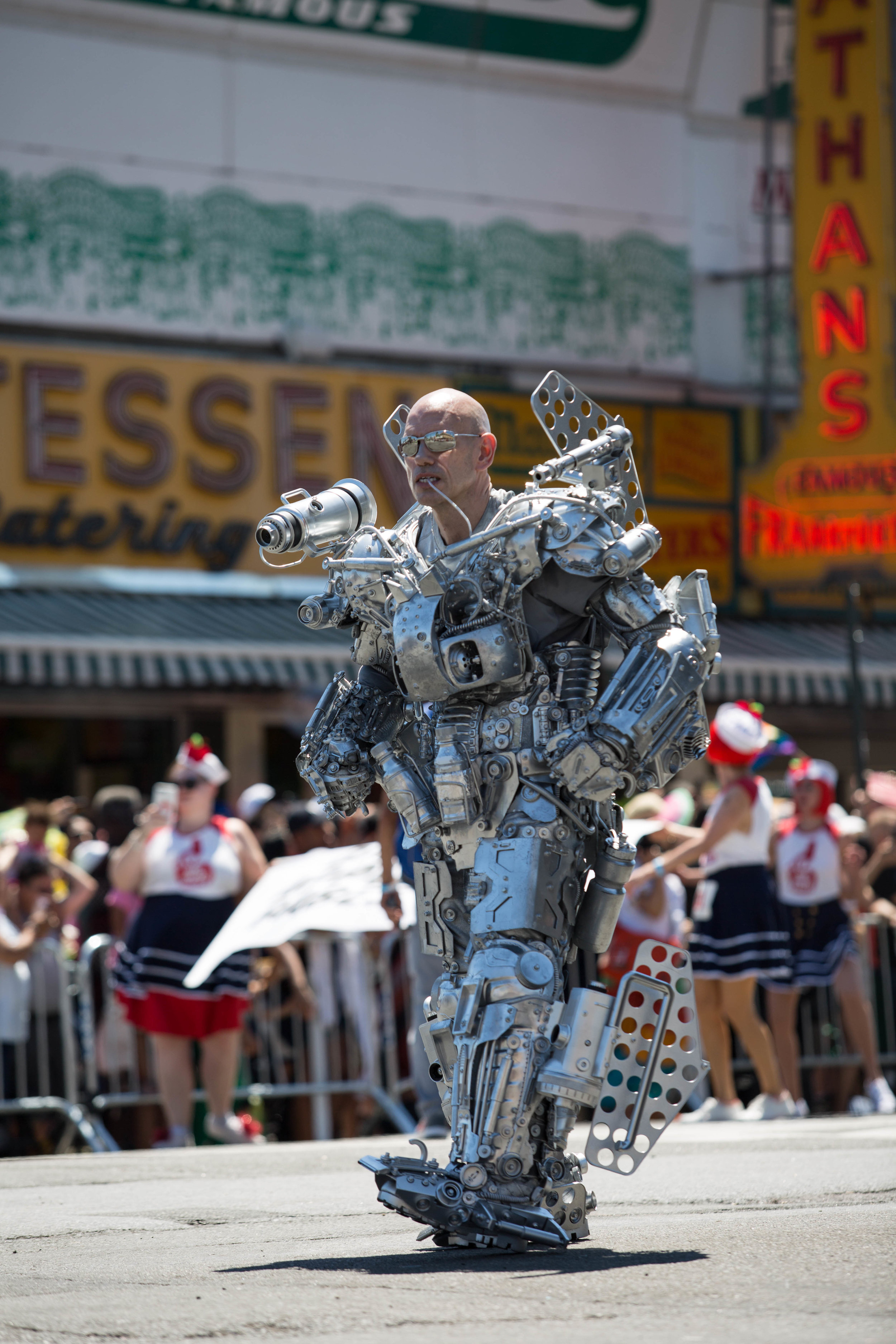 A killer robot joins Coney Island's 36th anual Mermaid Day Parade, on Saturday June 16, in New York. Photo: Wes Parnell