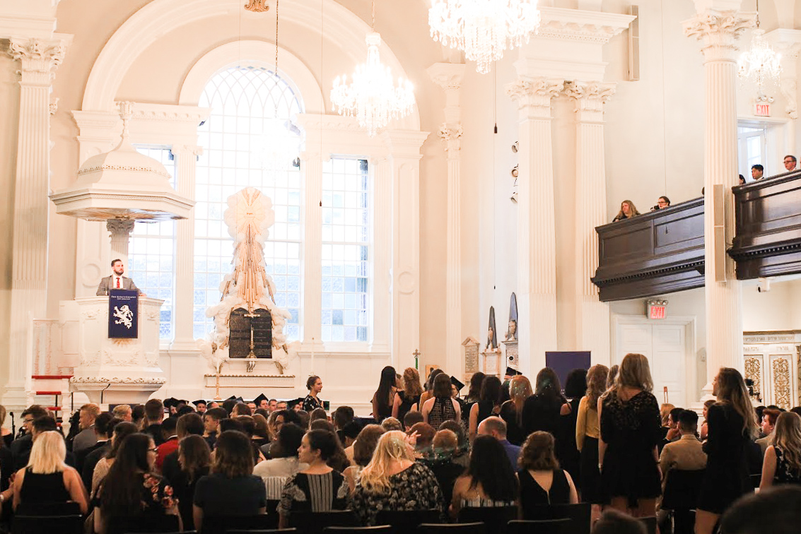 Student Body President Brandon Smith addresses the freshman class at St. Paul's Cathedral. || Photo Credit: Gabriela Kressley