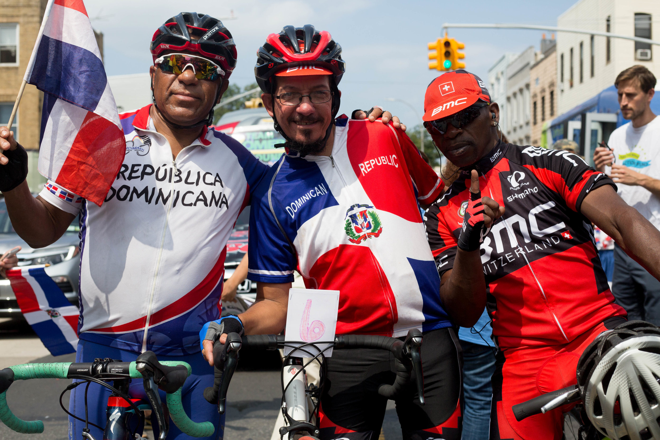 Dominican Road cycling team taking part in the 18th annual Williamsburg Dominican Parade, on Sunday, Aug 26, in New York. Photo: Wes Parnell