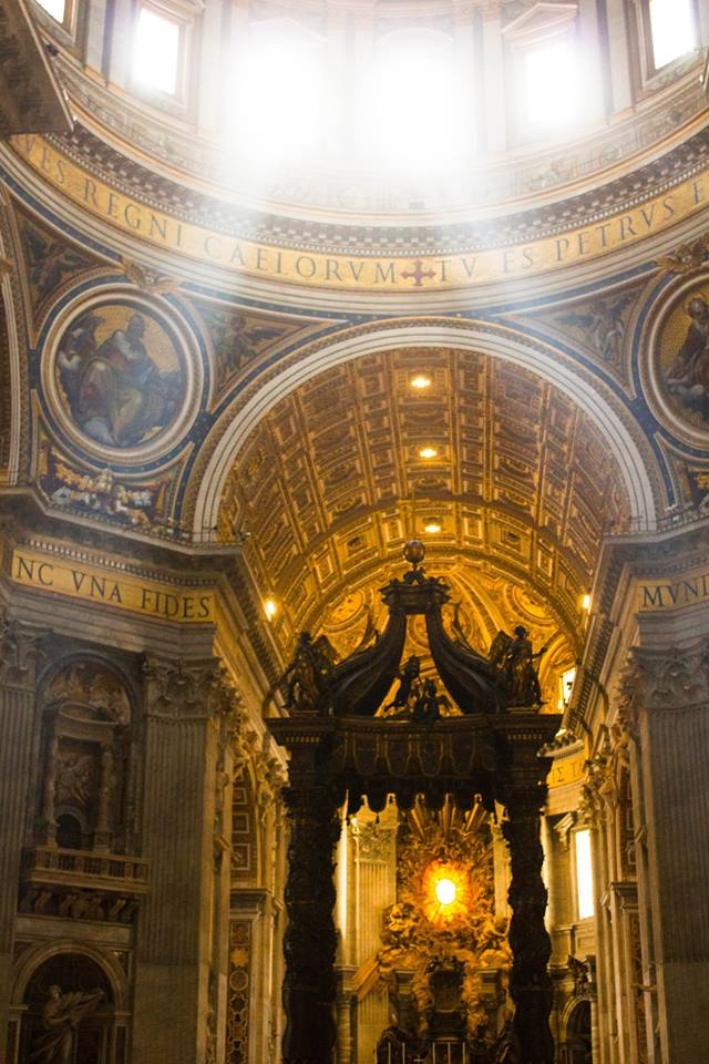 The altar in St. Peter's Basilica in Rome has a canopy with four pillars. The architecture has been compared to the Jewish chuppah. || Photo credit to Bernadette Berdychowski