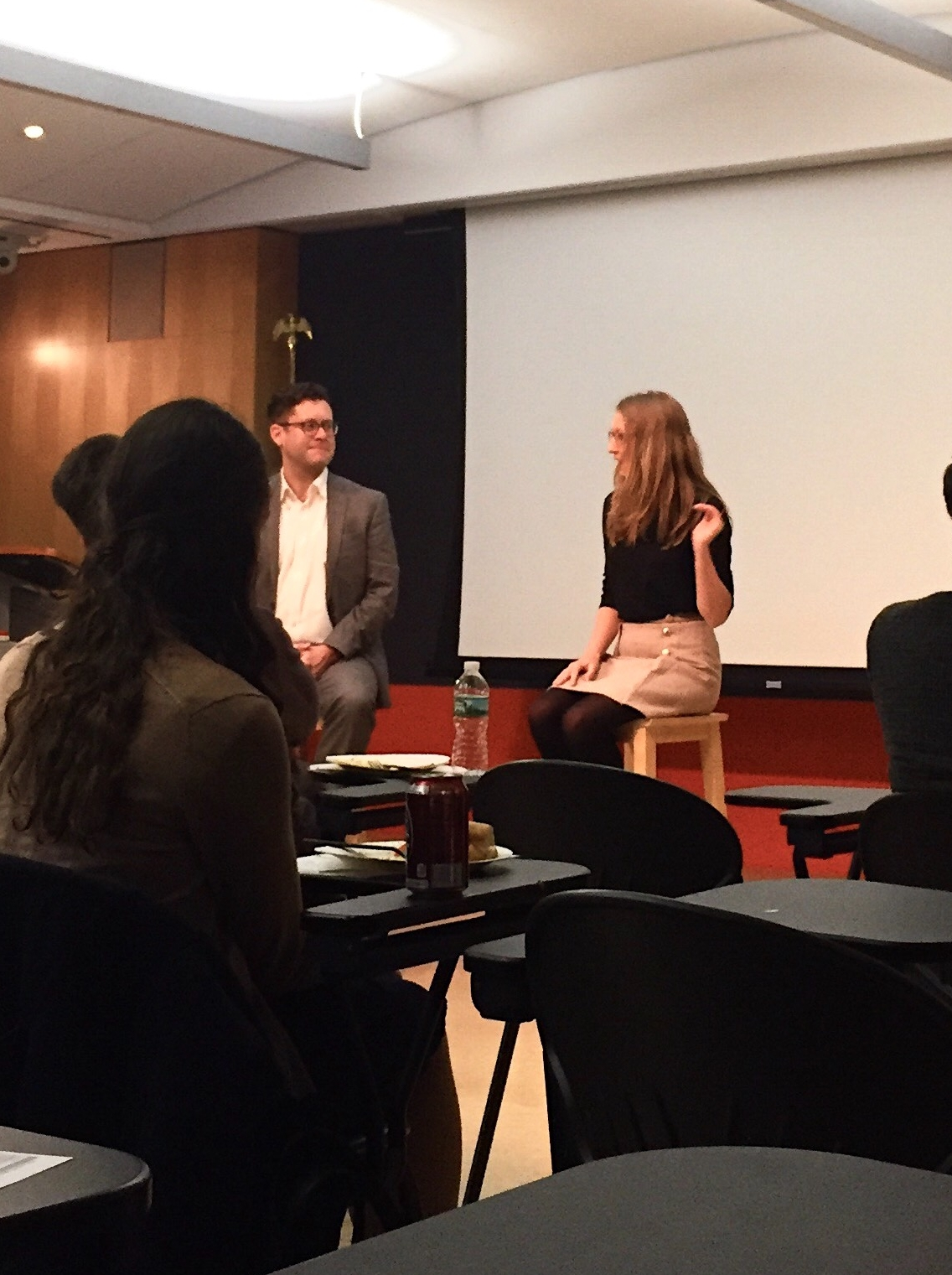 Bria Sandford and Professor Joshua Kinlaw talk about the publishing career track in the City Room at The King's College. || Photo credit to Rachel Williamson